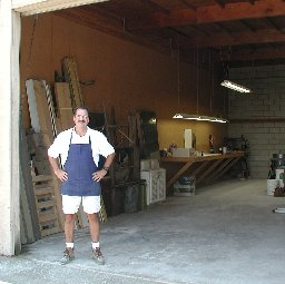 Proprietor Jim Early outside his roll-up warehouse space in Escondido, California.