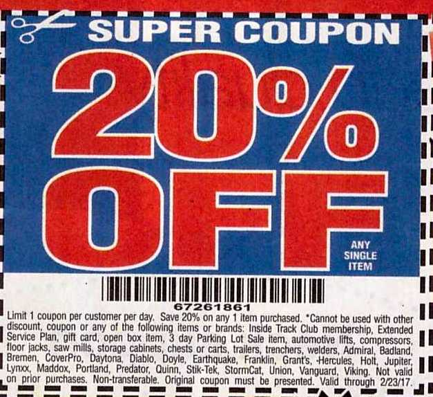 Harbor freight discount coupon 20 off