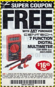 Harbor Freight Free Multimeter Coupon