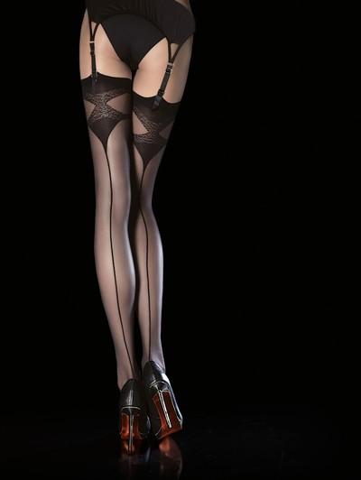 Strapsstrümpfe mit gemustertem Abschluss und stilisierter Naht Luna von Fiore, schwarz, Gr. M