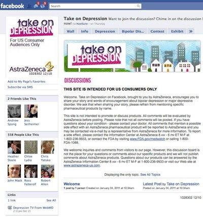 AstraZeneca Take on Depression Facebook page
