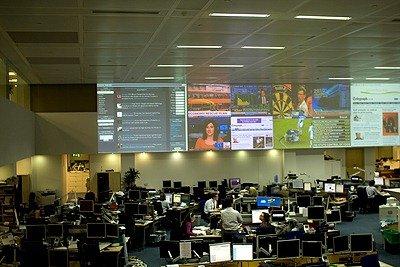 Twitterfall on the wall in Telegraph newsroom