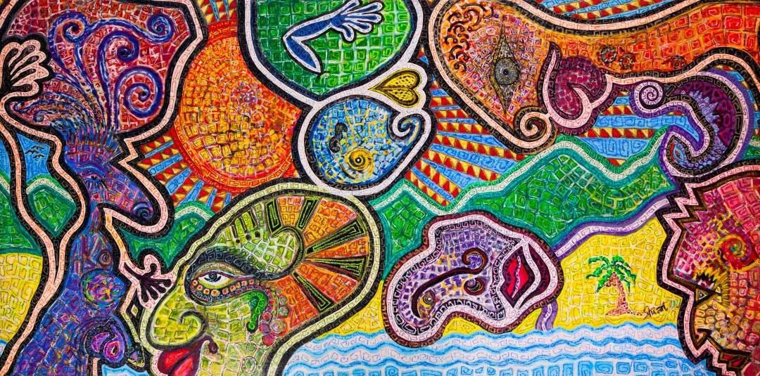 "Peacocks, Acrylic and oil bar on canvas Size: 60"" x 120"" 2014"