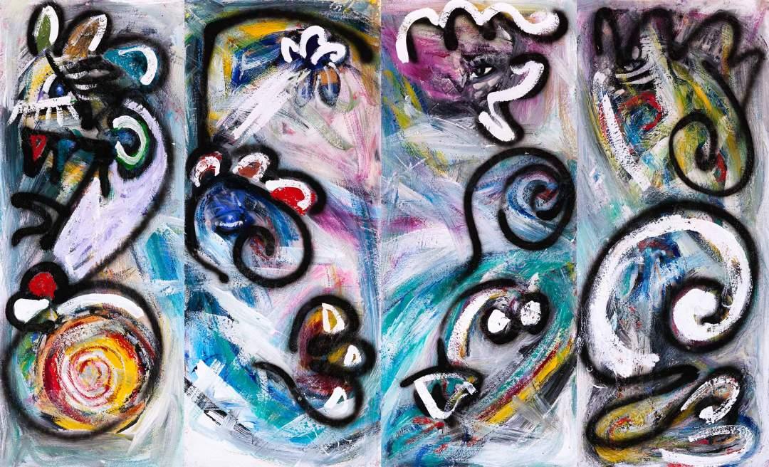 "Figures: Quadratych, 2014, acrylic on pressboard  4 panels @ 15"" x 36"""