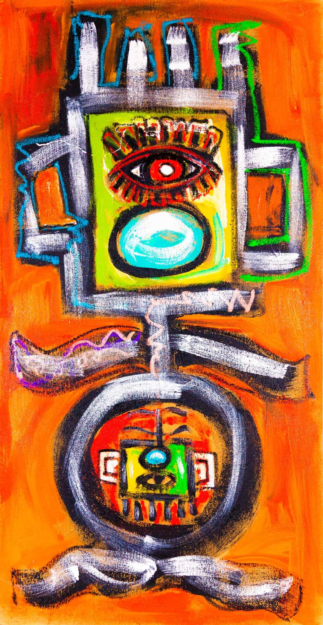"""gYg: knocked up, 35 1/4"""" x 68 1/4"""", acrylic and oil on pressboard, 2015"""