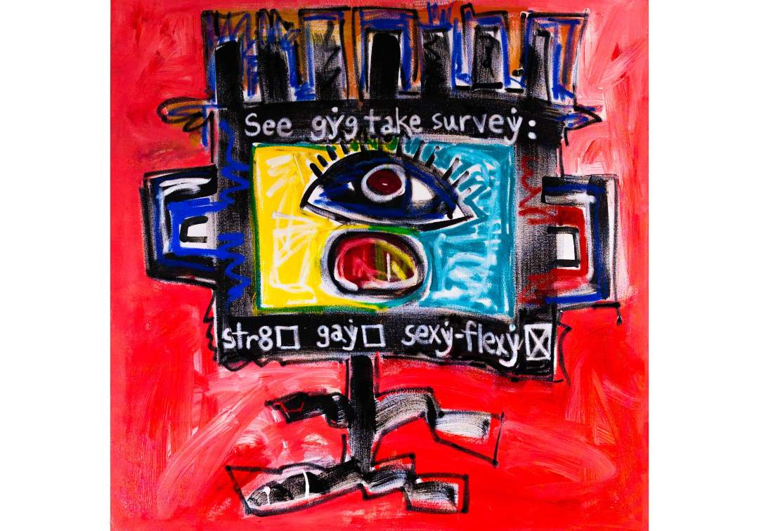 "gYg: takes survey; Acrylic and oil on canvas. Size: 48"" x 48"""