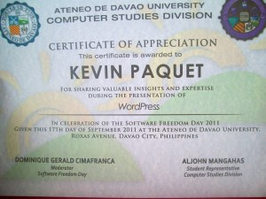 Kevin Paquet's certificate of Appreciation for talking about WordPress on Software Freedom Day 2011