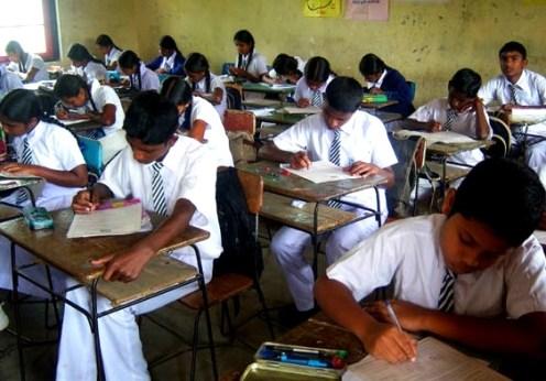 students writing exam in Sri Lanka