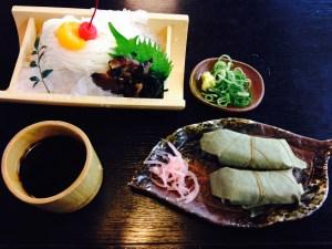 三輪素麺と柿の葉寿司
