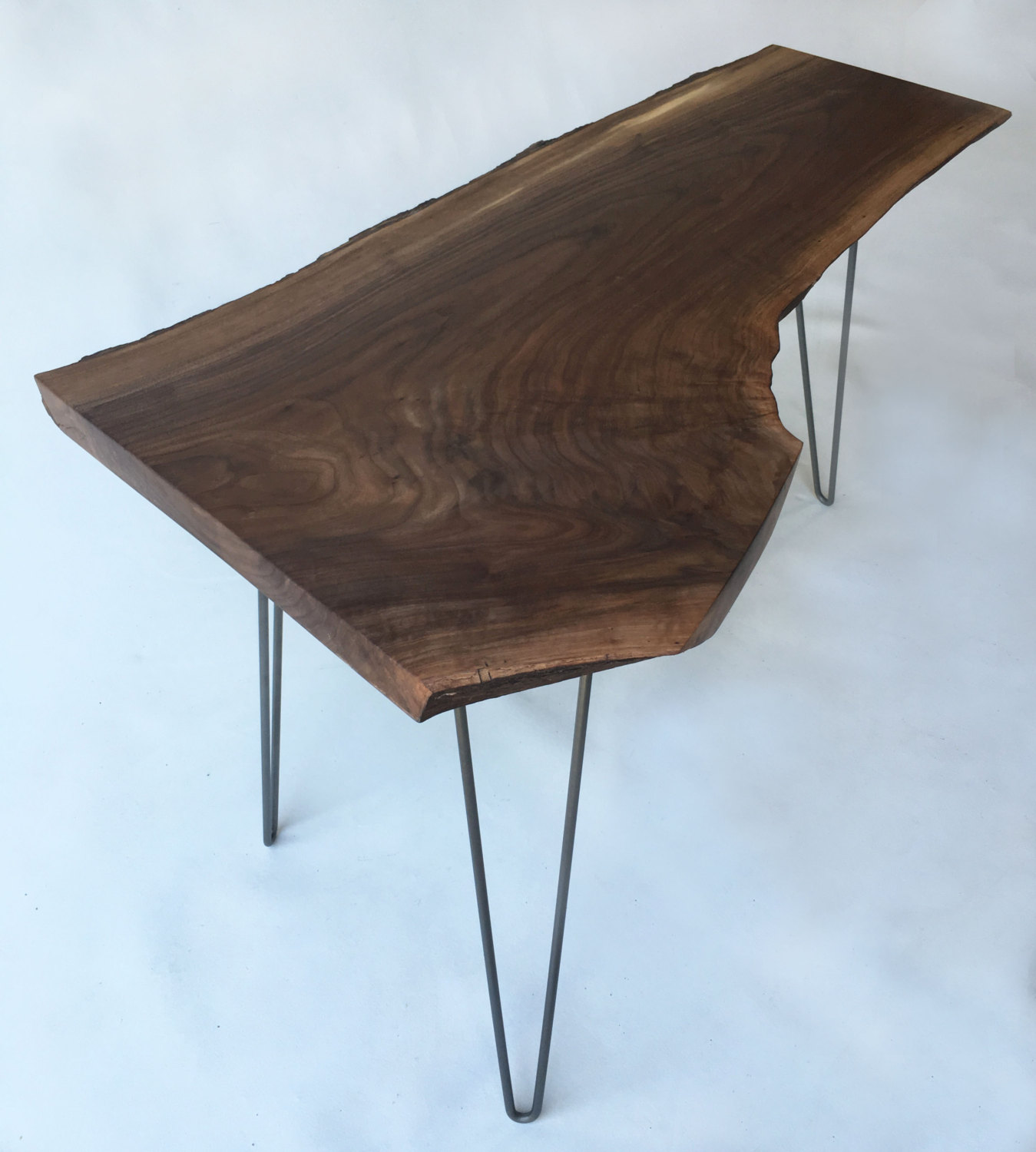 QUICK SHIP Mid Century Modern Natural Live Edge Side Table With - Mid century modern corner table