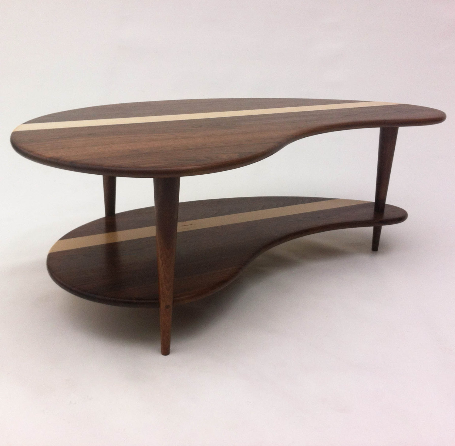 Mid Century Modern Coffee Cocktail Table – Solid Walnut with Shelf