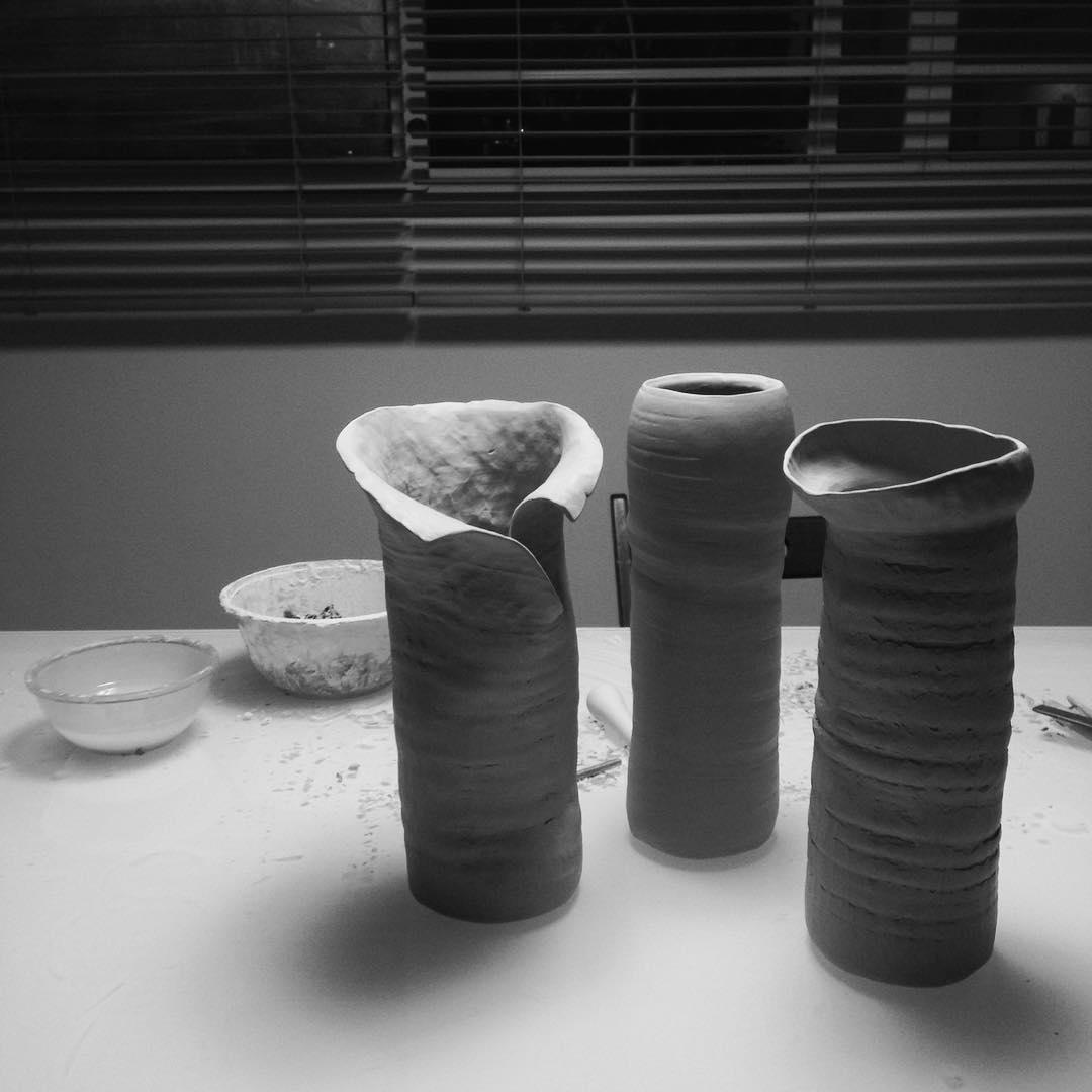 Work in progress  #sculptural #vases #ikebana #floralarrangement #handmade #pottery #ceramics #wabisabi #madeinsg #singapore #studioasobi
