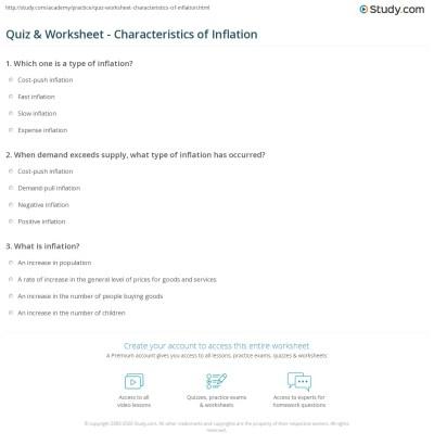 Quiz & Worksheet - Characteristics of Inflation   Study.com