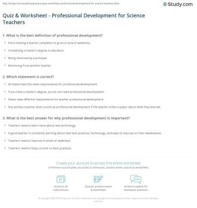 Quiz & Worksheet - Professional Development for Science Teachers | Study.com