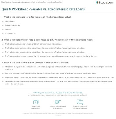 Quiz & Worksheet - Variable vs. Fixed Interest Rate Loans | Study.com