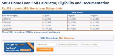 Home Loan Emi Calculator SBBJ - 2018-2019 StudyChaCha