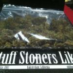bag of weed with a STUFF STONERS LIKE STICKER ON IT