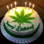 birthday cake with pot marijuana leaf