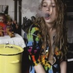 cute stoner chick smoking weed exhaling smoke