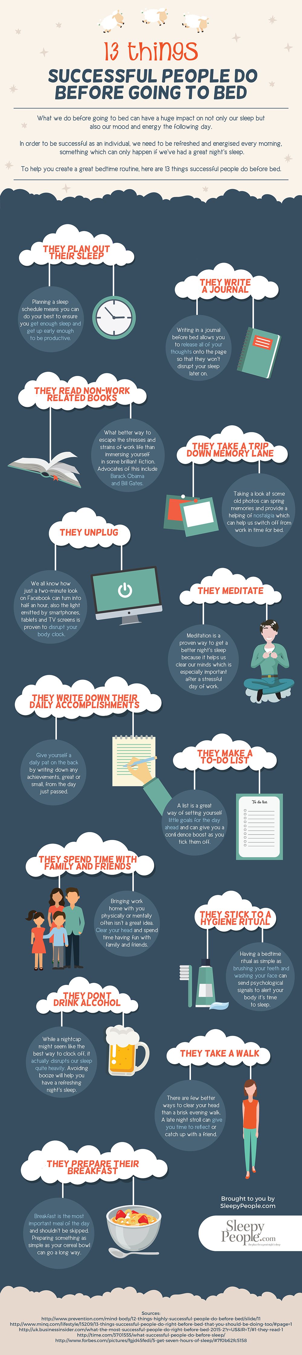 13 Things Successful People Do Before Bed Infographic