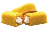 Hostess Twinkies with their rich golden cake and vanilla cream filling. So good!