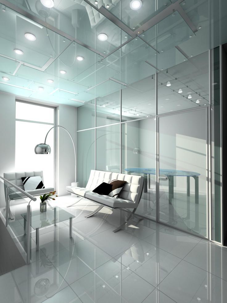 עיצוב פינת ישיבה עם דגש על שימוש בזכוכית ליצירת מראה חדשני.