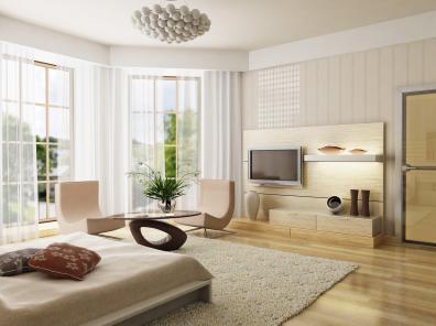 חדר שינה מעוצב ויפה בשילוב גווני עץ בהירים