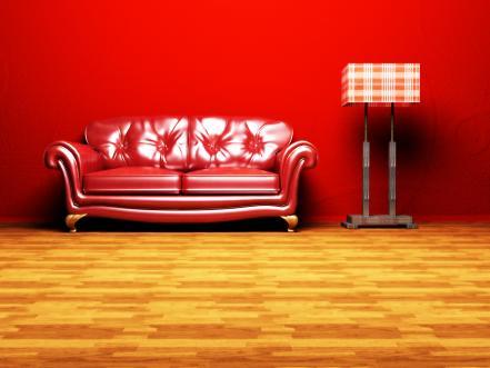 פינת ישיבה מעוצבת מעור בצבע אדום