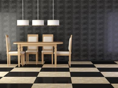 פינת ישיבה מעוצבת בשילוב קווים ישרים ושלושה צבעים