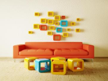פינת ישיבה מעוצבת בקווים מרובעים דומיננתים וצבעים שמחים