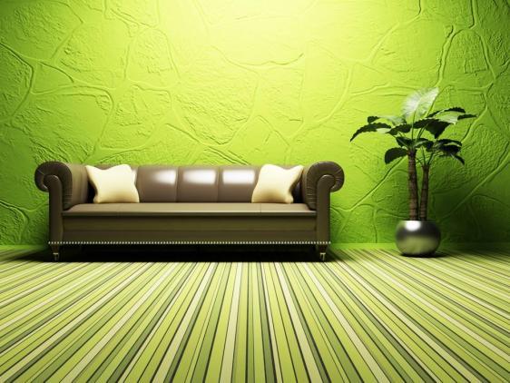 עיצוב פינת ישיבה מדהימה בגוונים של צבעים ירוקים.