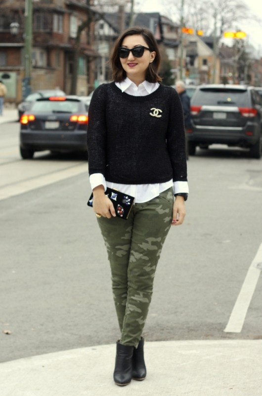 chanel-brooch-military-pants-dvf-clutch