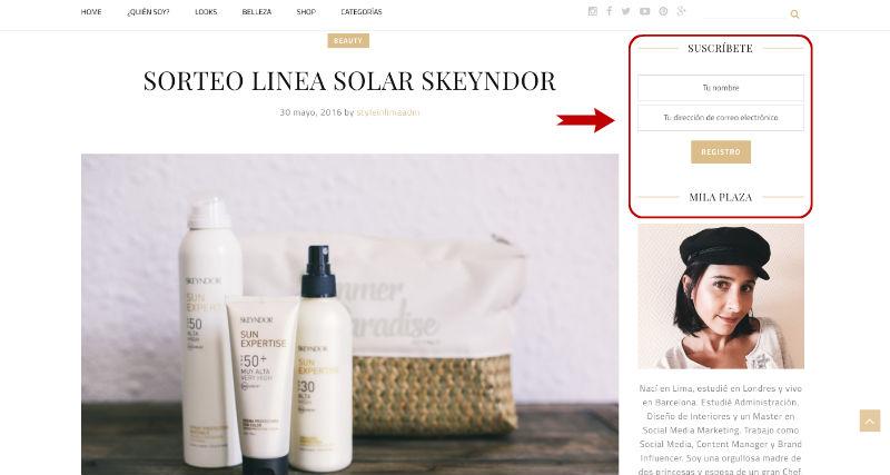 suscribirse newsletter StyleInLima