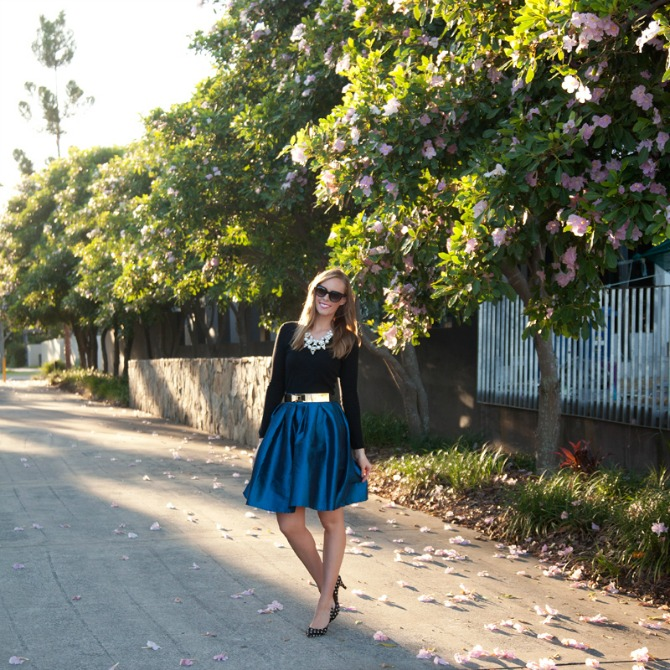 Insta Style Sessions Fashion Link Up: Spring Style   Cobalt Skirt