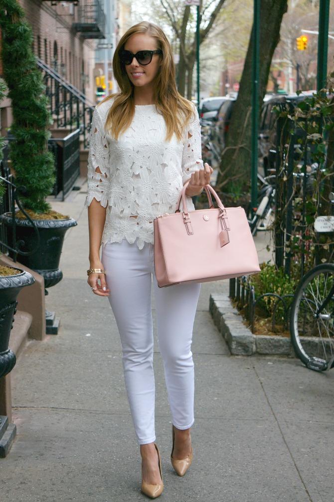 tory burch robinson handbag blush color lauren slade new york fashion blogger style elixir blog www.stylelixir.com prada sunglasses j crew white jeans