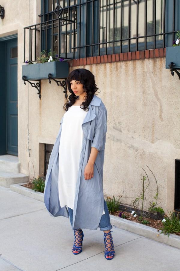 Kaylah Burton, Style Me Twice, Nasty Gal Ex-Boyfriend Jeans, Zara blue Suede heel, Pippa Lynn Sandwash Coat