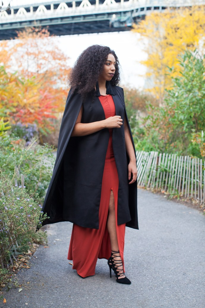 nyc fall style, lavish alice cape blazer, nasty gal Suzywan Deluxe Aurora Silk Tassel Earrings