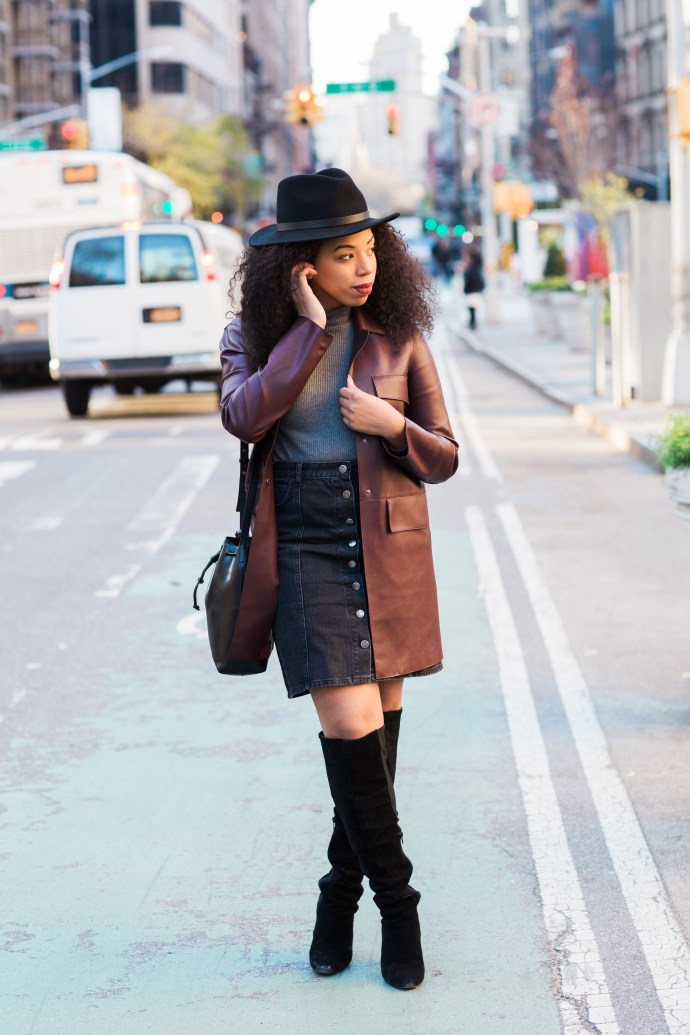 Kaylah-Burton-Style-Me-Twice-NYC-Style-Brixton-Messer-Hat-ASOS-Denim-Polly-A-Line-Button-Through-Midi-Skirt-In-Washed-Black