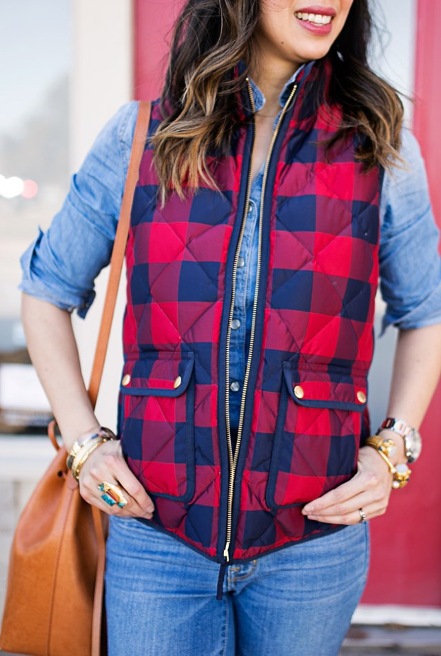 jcrew buffalo check excursion vest, over the knee boots, casual winter ootd, mansur gavriel bucket bag