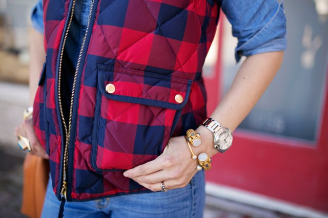 jcrew buffalo check excursion vest, over the knee boots, julie vos byzantine bracelet, mansur gavriel bucket bag