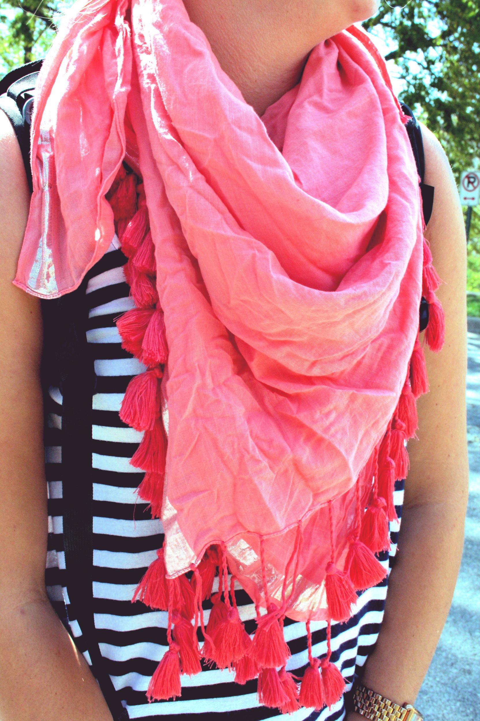 ellen's pretty pink scarf.
