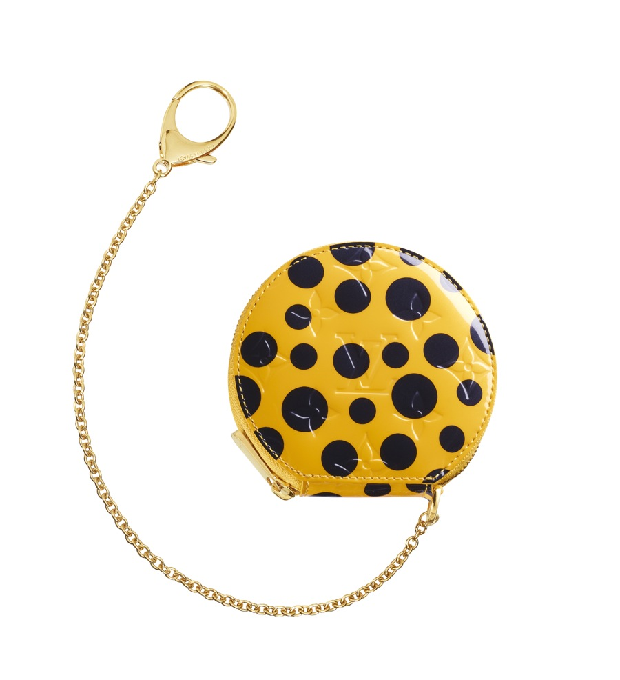 Yayoi Kusama Louis Vuitton Coin Purse Chapeau Monogram Vernis Dots Infinity yellow