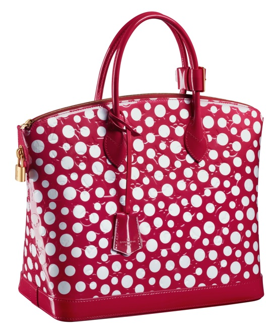 Yayoi Kusama Louis Vuitton Lockit MM Monogram Vernis Dots Infinity red