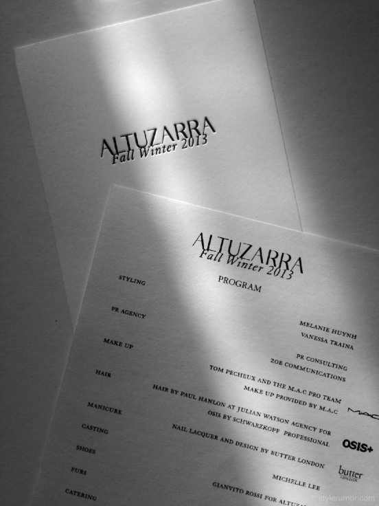 Altuzarra Fall 2013 Invitation