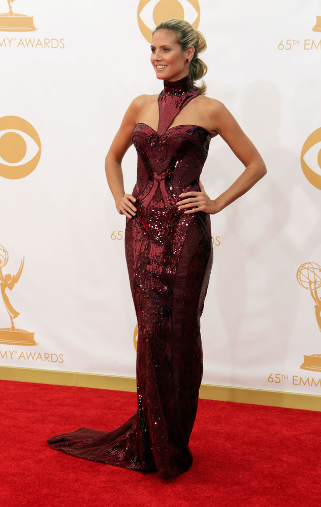 Heidi Klum in Atelier Versace (Photo: Getty Images and Huff Post Style)