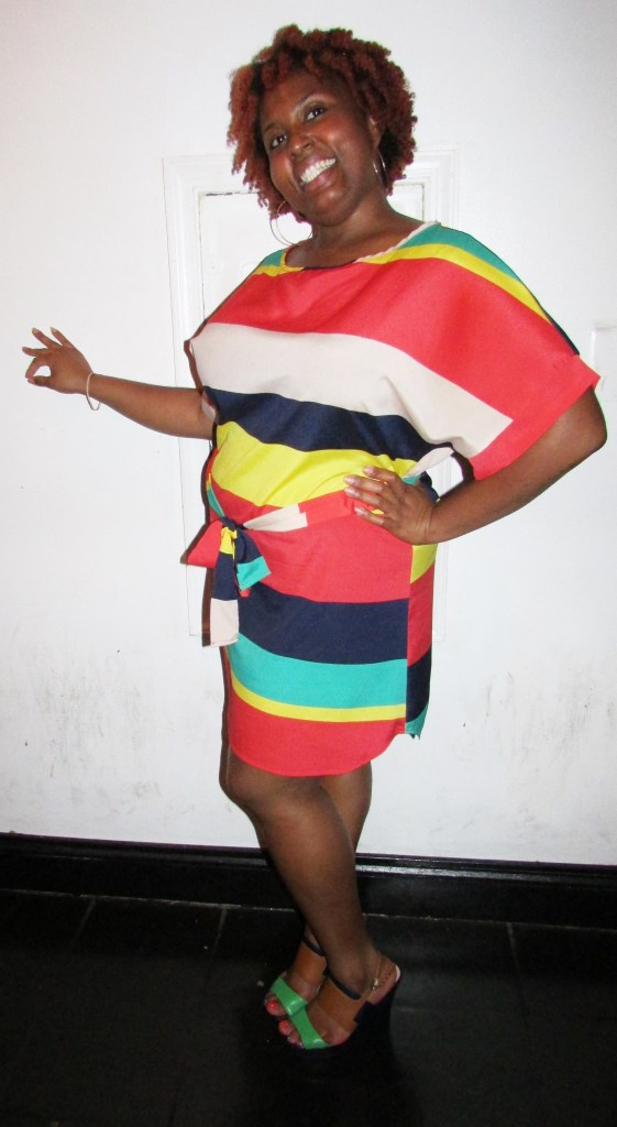The event host Ms. Takeyia Dickens in her beautiful stripe dress and fab smile :)