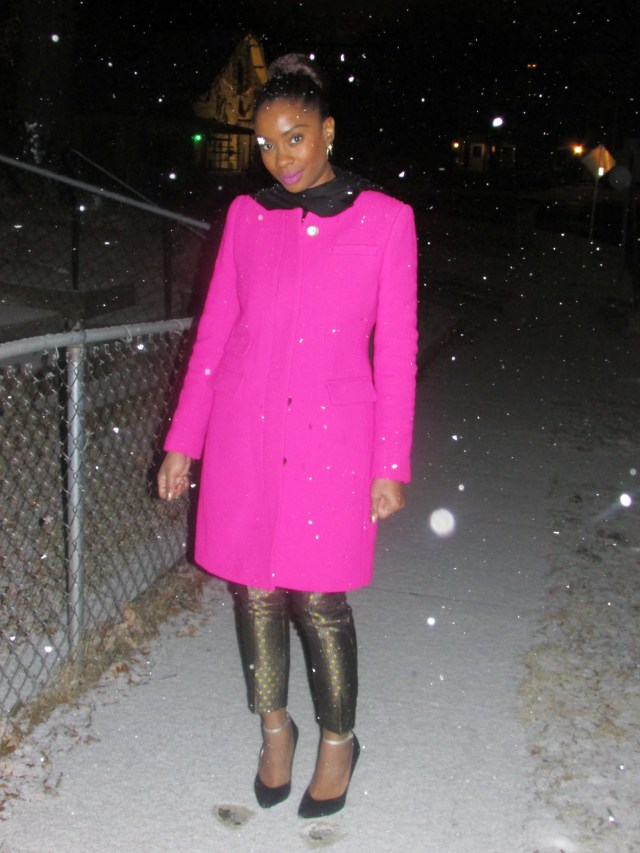 J. Crew Double Cloth Symphony Coat Vibrant Fuschia - Stylestamped.com