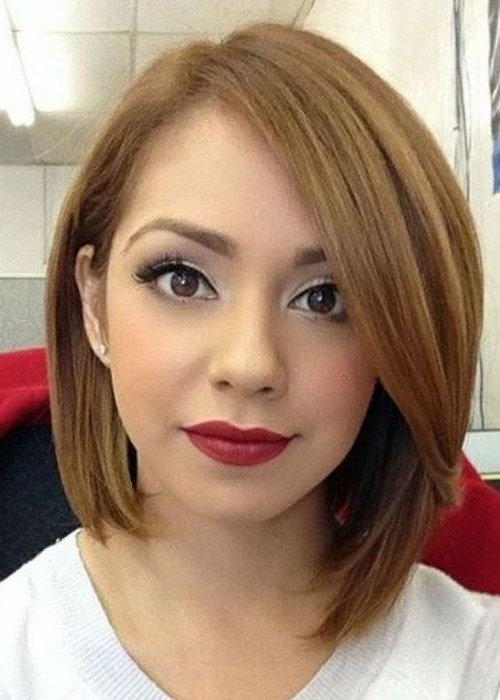 Layered asymmetrical bob hairstyle