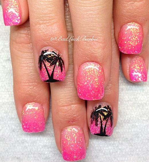 18 chic nail designs for short nails crazyforus hot pink glitter nail design prinsesfo Images