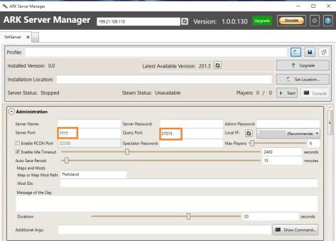 ARK server manager 2